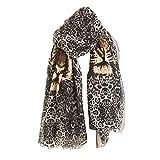 GreatestPAK Damen Herbst und Winter Neuer Leoparden Baumwolle und Leinen Schal Leopardenkopf Tigermuster Tigerkopf Schal,3