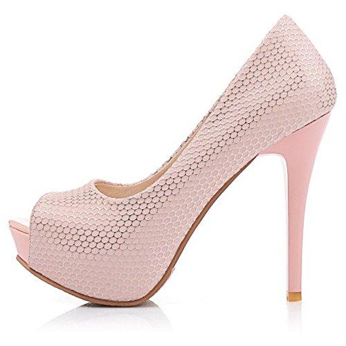 Senhoras Taoffen Partido Clássica Sandálias Planalto Casamento Sapatos Peep-toe De Deslizamento De Salto Alto Rosa