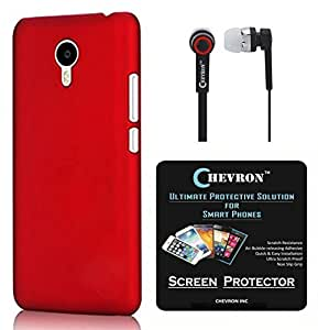 Chevron Back Cover Case for Meizu MX5 with HD Screen Guard & Chevron 3.5mm Stereo Earphones (Red)