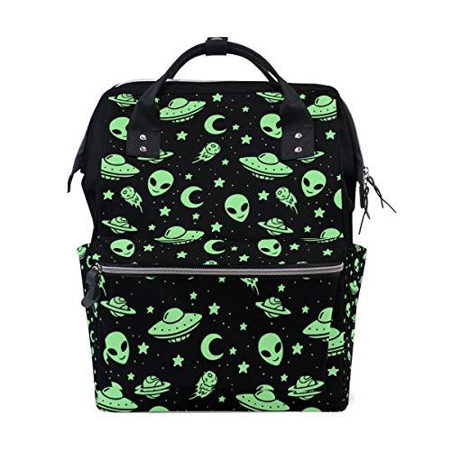 FANTAZIO Rucksäcke Green Alien UFO Moon Schultasche Segeltuch Daypack (Bookbags Jansport Für Jungen)