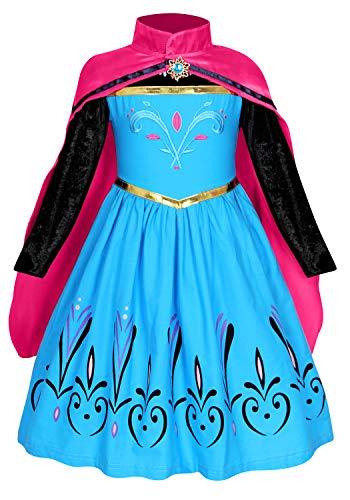 AmzBarley ELSA Kostüm Kinder Mädchen Prinzessin Kleid Eiskönigin Dick Kleider Halloween Cosplay Geburtstag Party Verrücktes Kleid Karneval Ankleiden Winter (Elsa Kostüm Alter 11 12)
