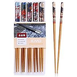 Palillos, 5 par palillos de alta calidad restaurante chino japonés palillos Set de Alta Calidad, Diseño de Antideslizante (Gato)