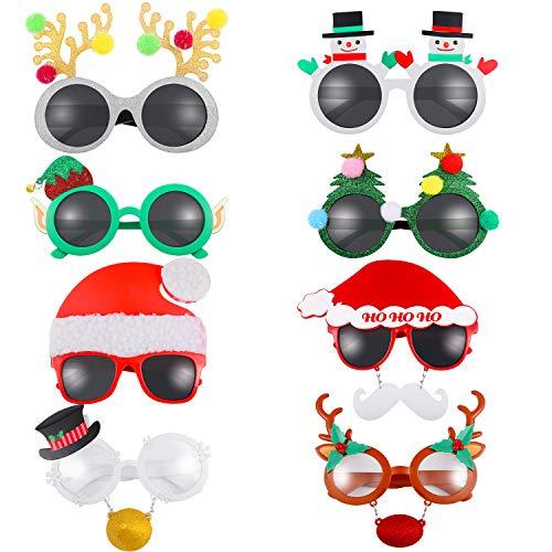 Paare Urlaub Für Kostüm - 8 Paar Neuheit Weihnachten Brille Kostüm Party Brillen Weihnachten Urlaub Zubehör für Weihnachten Halloween Erntedankfest Party