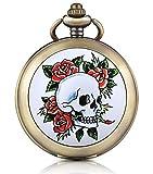 Unendlich U cranio teschio Rose Foto medaglione a carica manuale meccanico orologio da tasca quadrante bianco scheletro orologio Maglione Collana, entrambe le catene