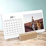 Foto Kalender gestalten online, Erfüllendes Jahr Tischkalender, Aufstellkalender 260x120 mm mit edlem Holzfuß, Fotokalender 2017