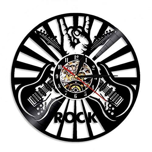 JIANGRC Rock Rock Vinyl Record Reloj De Pared Roll N Roll Music Reloj De Pared Decoración Casera Creativa Regalo para El Amante De La Música Guitarrista