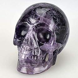 CUIAIDING Estatua 5.2 `` cristal de cuarzo fluorita natural tallada a mano, realista , púrpura