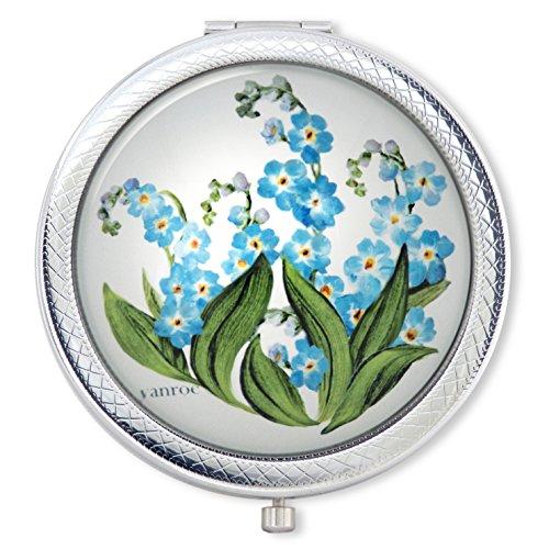 """Vanroe """"Vergissmeinnicht"""" Designer Blumen Taschenspiegel in Geschenkbox – vergrößert,..."""