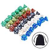 42 Stück Polyedrische Würfel Spielwürfel Gemischte Farben für Dungeons und Dragons DND MTG RPG mit 6 Stück Schwarze Beutel, 6 Set von d20, d12, 2 d10 (00-90 und 0-9), d8, d6 und d4