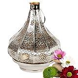 albena shop 71-5240 Jadoo orientalisches Windlicht Laterne 30cm Metall (silber/innen gold)