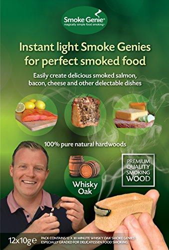 Smoke genie whisky in legno di quercia per affumicatura–confezione di 12instant light affumicatura (10ore plus di fumo)