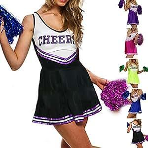 Déguisements LeGastronomeSexy.com - Costume cheerleader - Uniforme Pom Pom Girl - Extra Large - XL, Noir
