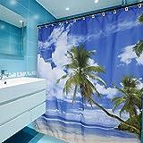 Kinlo® Duschvorhang Palm Beach Motiv Anti-Schimmel-Effekt Waschbar Wasserdicht Badvorhang 180x180 cm mit 12 Vorhangringe