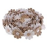Baoblaze 3 Yards 25mm Daisy Flower Spitzenbordüre Perlen Spitzenborte Spitzenband Zierband Stretch Spitze Borte Hochzeit lace Trim Dekoband - Kaffee, 3M