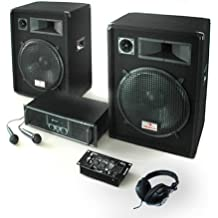 "DJ Set ""Basstigall USB"" impianto audio completo PA (2 X casse altoparlanti AUNA 400 Watt totali, amplificatore Skytec, 2 microfoni, mixer USB, cuffie)"