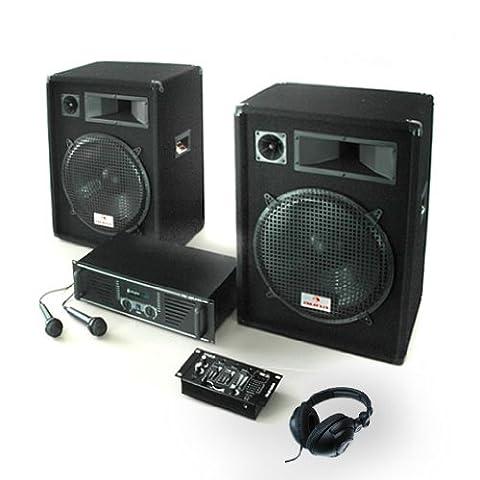 PA Anlage Basstigall USB Set Verstärker Boxen Mics 1600W