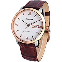 Comtex Men's Automatic Watch with White Dial Analogue Display and Brown Leather Strap Rose Gold Dress Watches