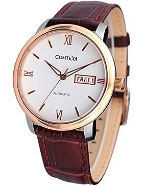Comtex Business Herren- Mechanische Automatik Armbanduhr mit Rotbraun Leder Rose Golden Gehäuse Armbanduhr