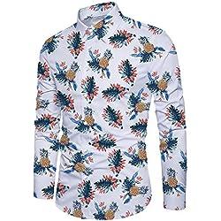 Funnycokid Hombres Camisa Manga Larga con Botón Impreso Hawaiana Estilo Fiesta Hombre Regular Fit Camisas