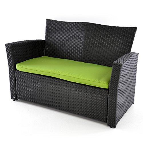Nexos Rattan Set 4tlg mit Glastisch grün Garnitur Gartenmöbel Sitzgruppe Poly Rattan inkl. Höhenverstellbare Füße und Sicherheitsglas 4-Sitzer 4-teilig - 2
