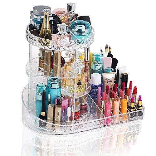 Deco Express Rotierender Makeup Organizer | Großer Kosmetischer Acryl Organisator | Aufbewahrung Für Make-up & Das Badezimmer | 360 ° Drehbarer Ständer Und Verstellbare Tabletts, Einfacher Zugang