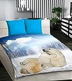 AmazingCurtains_Ltd Eisbären 3D Bettwäsche-Set Double Bettbezug Größe Animal Print Bett-Set + 2Kissenbezüge 3Set weiche Stoff Geschenkidee Geburtstag Geschenk