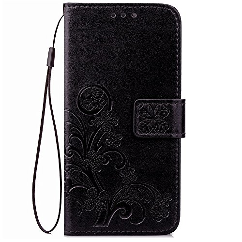 Double Magnetic Back Sucktion Retro Style PU Leder Flip Stand Case mit Kickstand und Wallet Beutel Funktion für Huawei Ehre V9 ( Color : Gray ) Black