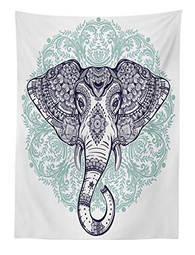 ABAKUHAUS Mandala Elefante Tapiz de Pared y Cubrecama Suave, Estampa Cachemira Floral Étnica Tribal Cabeza de Animal Sagrado Hippie, Lavable Colores No Destiñen, 110 x 150 cm, Púrpura