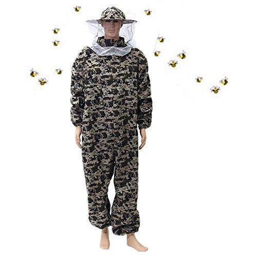 ZJIE Professional Bee Suit Schützende Camouflage-Kleidung (All-in-One) mit Klarer Sicht Fencing Veil Outdoor Total Protection Gear Für Professionelle und Anfänger Imker,Large