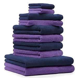 10 tlg. Handtuch Set Premium Farbe Dunkel Blau & Lila 100% Baumwolle 2 Duschtücher 4 Handtücher 2 Gästetücher 2 Waschhandschuhe