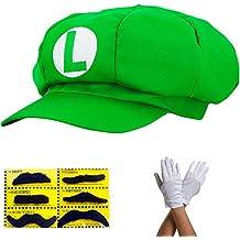 Gorra Super Mario GREEN LUIGI set completo con guantes y barba pegamento para adultos y niños carnaval disfraz sombreros cap cap