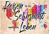 Cadouri Frühstücksbrettchen REISEN IST DIE SEHNSUCHT Glasschneidebrett Schneidebrettchen - 28,5 x 20 x 0,4 cm