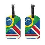 COOSUN Regno Unito e il brasiliano Grunge Flag Etichette Viaggi etichette segnaprezzo carta di nome per il bagaglio Valigia Bag Zaini, 2 PCS medio multicolore
