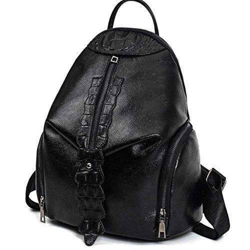 Y&F Frau Schülertasche Rucksack Schultertaschen Handtasche 31 * 18 * 30 cm Black
