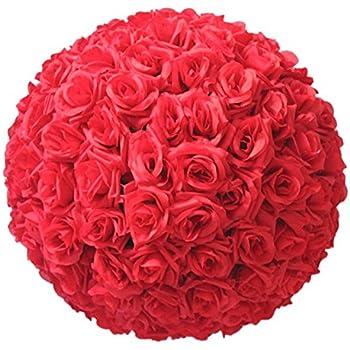 oobest 15* 21cm Boule de roses artificielles en soie Red d/écoration de mariage Tissu de soie