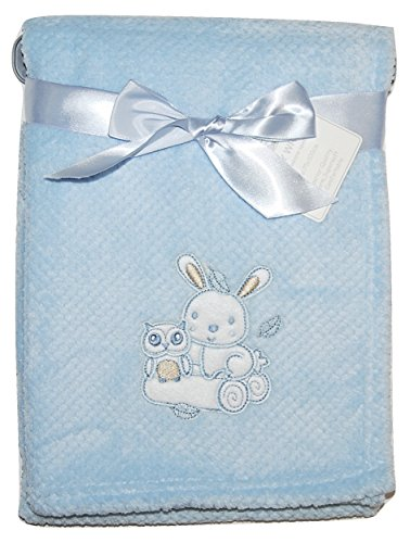 Eule-geschenk-korb (Baby Boy Soft Fleece-Umhüllung Decke Kinderwagen Gitterbett Moses Korb blau Eule Kaninchen)
