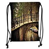 ZiJface Drawstring Backpacks Bags,Landscape,Romantic Bridge Over Canal Amsterdam Netherlands European Famous Northern City Photo,Cream Soft Satin,5 Liter Capacity,Adjustable String Closure