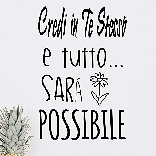 Vinilo pared decorativo, pegatina pared con frase en Italiano'CREDI EN TE.'adesivi murali frasi in italiano citazione, decorazione da Muro per Casa,Wall Stickers, Art Sticker Decal Mural, DC-18030