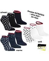 "3er Pack Damen Sneaker Kurzstrümpfe Socken Strümpfe ""Farbtupfen"" (RS-15345) - inkl. EveryHead-Hutfibel"