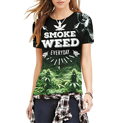 Einzigartige Smoke Weed Frauen Neuheit Drucken T-Shirt Slim Fit L (Shirt Damen Neuheit)