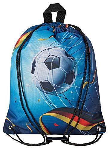 Aminata Kids - Kinder-Turnbeutel für Mädchen und Junge-n mit für Echt-e Sport Fan-Artikel Ecke-n Motiv verstärkt WM Fussball Sport-Tasche-n Gym-Bag Sport-Beutel-Tasche blau