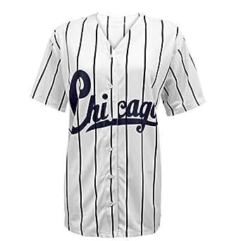 neuf pour femmes chicago universitaire rayures am ricain maillot de baseball t shirt haut. Black Bedroom Furniture Sets. Home Design Ideas