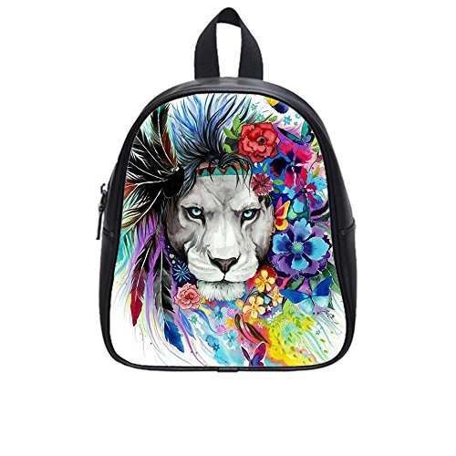 dongmen-black-leather-waterproof-backpack-school-bag-large-custom-personalized-lion-pattern