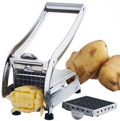 Coupe-frites VonShef en acier inoxydable avec 2 lames pour faire des chips et des frites