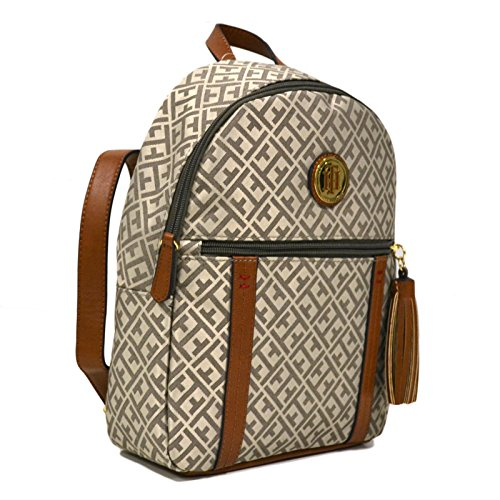 Tommy Hilfiger Womens Jacquard Backpack With Tassel Zipper