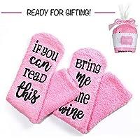 """Womdee Weinfocken, Damen-Socken mit """"If You Can Read This Bring Me Some Wine"""" und Cupcake-Geschenkverpackung,... preisvergleich bei billige-tabletten.eu"""