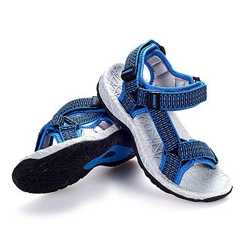 Bwiv sandales sportives à scratch garçon avec bride arrière réglable sandales antidérapantes bout ouvert des tailles 27-37 Bleu
