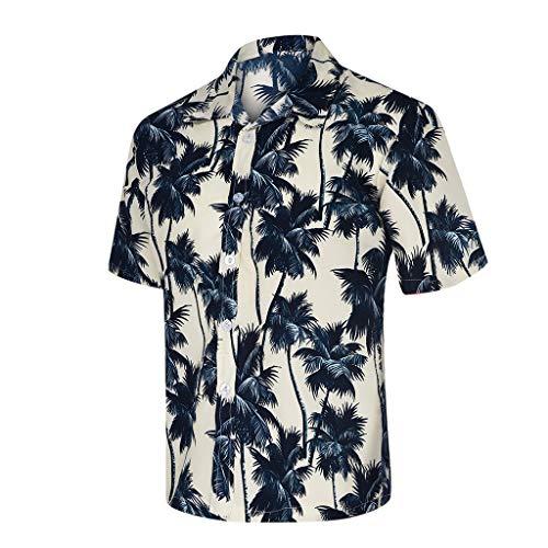 MOTOCO Herren Hawaiian Shirt / 3D Druck Lässige Kleidung Button-Down/Strandurlaub Aloha Summer Beach Kurzarm Blusen(M,Weiß) (Hawaiian Shirt Boot)