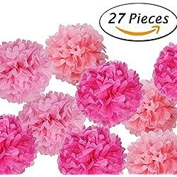 27 pompones para boda en disferentes tonos de rosa