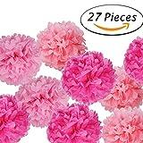 Paxcoo 27 pcs flores de papel de pañales de Pom Pom para la decoración de la fiesta de cumpleaños de la boda